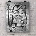 Runenstein mit Wikingermotiven