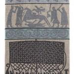 Jacquardschal mit Bildstein-Motiven